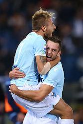 September 20, 2017 - Rome, Italy - Stefan de Vrij of Lazio and Ciro Immobile of Lazio celebrating after the goal scored  during the Serie A match between SS Lazio and SSC Napoli at Stadio Olimpico on September 20, 2017 in Rome, Italy. (Credit Image: © Matteo Ciambelli/NurPhoto via ZUMA Press)