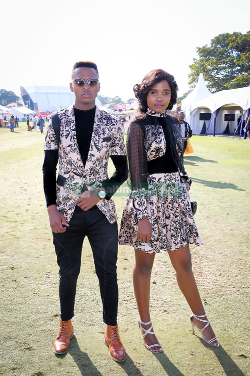 07062018 (Durban) Zama Nhleko and Sbonelo Ngiba dressed by M-Shade arriving in style the adrenaline of Vodacom Durban July flowing like water among the massive crowd expected at Greyville Racecourse in Durban for the running of the R4.25 million, Grade 1, Vodacom Durban July, the greatest racing, fashion and entertainment extravaganza on the African continent.<br /> Picture: Motshwari Mofokeng/African News Agency/ANA