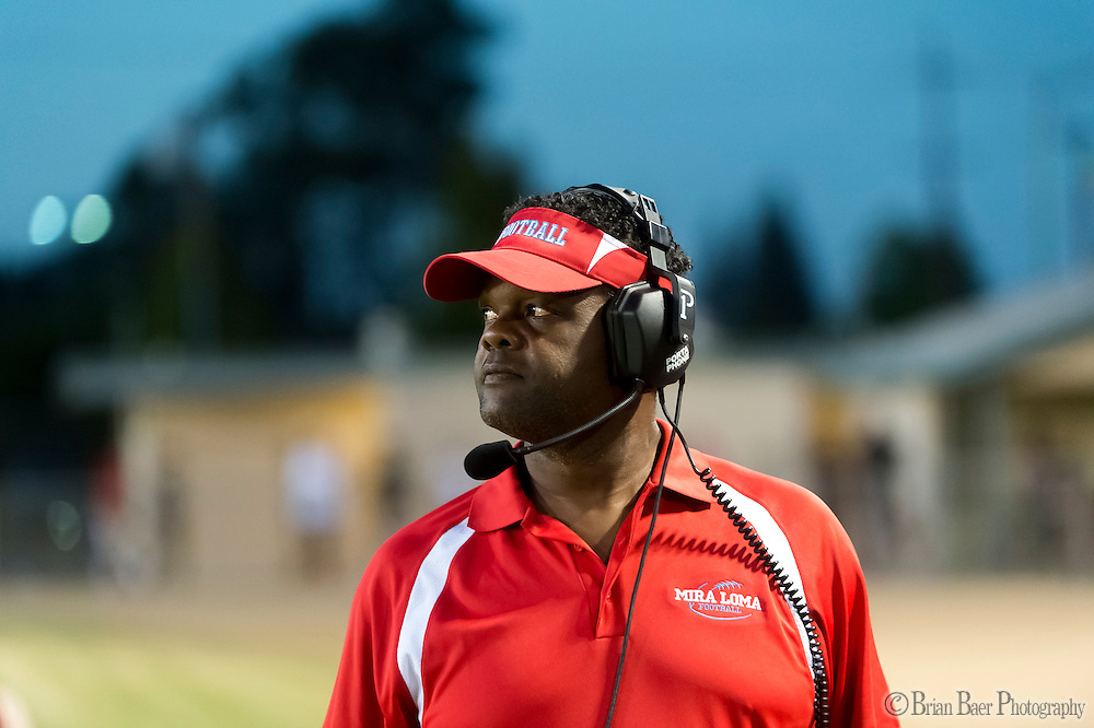Mira Loma Matadors head coach Tooby Thurman looks on during the second quarter as the San Juan Spartans host the Mira Loma Matadors, Friday Sep 16, 2016.<br /> photo by Brian Baer