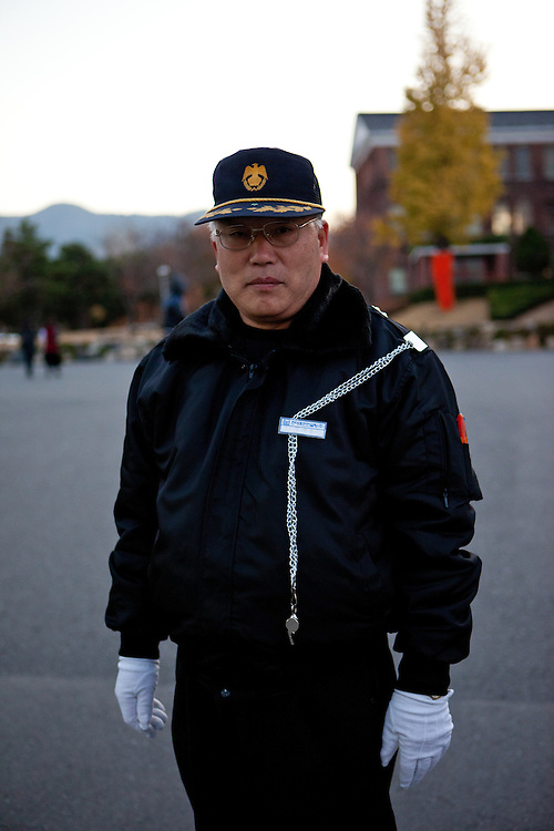 Daegu/South Korea, Republic Korea, KOR, 20.11.2009: Security man at Keimyung University in Daegu.