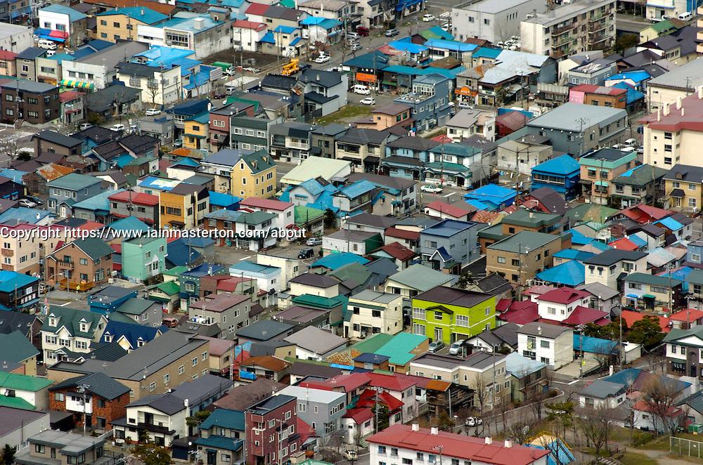 Colourful houses in Hakodate on Hokkaido ISland in Japan