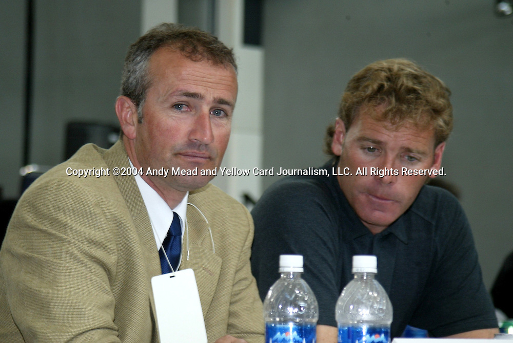 16 January 2004: San Jose Earthquakes head coach Dominic Kinnear (left) and assistant John Doyle (right). The Major League Soccer SuperDraft was held at the Charlotte Convention Center in Charlotte, NC as part of the annual National Soccer Coaches Association of America convention..