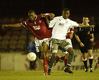Photo: Aidan Ellis.<br /> York City v Bristol City. The FA Cup. 11/11/2006.<br /> York's Emanuel Panther (L) battles with Bristol's Jenison Myrie-Williams
