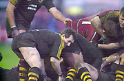 Gloucester, Gloucestershire, UK., 04.01.2003, Rob HOWLEY, digging the ball out from the scrum,  during, Zurich Premiership Rugby match, Gloucester vs London Wasps,  Kingsholm Stadium,  [Mandatory Credit: Peter Spurrier/Intersport Images],