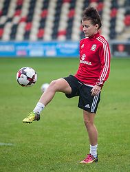 NEWPORT, WALES - Monday, September 19, 2016: Wales' Angharad James warms up ahead of the UEFA Women's Euro 2017 Qualifying Group 8 match at Rodney Parade. (Pic by Laura Malkin/Propaganda)