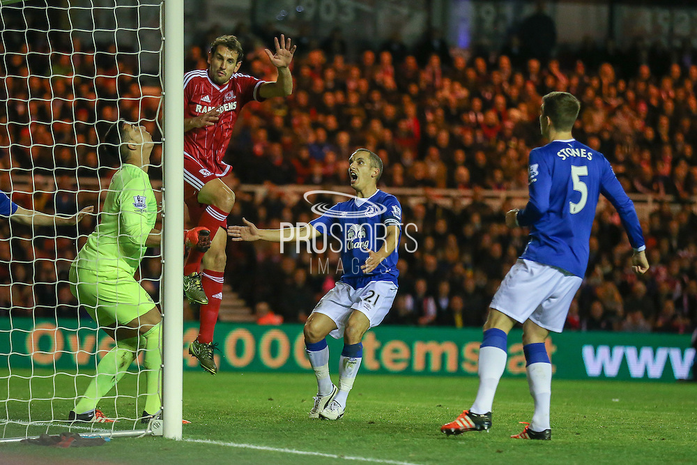 Middlesbrough forward Christian Stuani  fouls Everton goalkeeper Joel Robles   during the Capital One Cup match between Middlesbrough and Everton at the Riverside Stadium, Middlesbrough, England on 1 December 2015. Photo by Simon Davies.