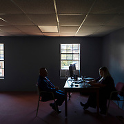 Richard Ojeda, who is running as a Democrat for West Virginia House District 3, works on his speech with his communications director Madalin Sammons at his campaign headquarters in Chapmanville, W.Va., on Election Day, November 06, 2018. (Craig Hudson/The Charleston Gazette-Mail via AP)