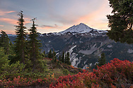 One of the North Cascades Volcanos, Mount Baker (Komo Kulshan) at sunset.  Photographed from Huntoon Point on Kulshan Ridge in the Mount Baker-Snoqualmie National Forest, Whatcom County, Washington State, USA.