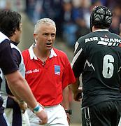 2005 European Challenge Cup Final Sale Sharks v Pau, ENGLAND, 21.05.2005, Referee Aln Lewis talk's to Pau captain Pierre Som [No.6]<br /> Photo  Peter Spurrier. <br /> email images@intersport-images