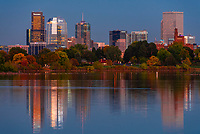Sloans Lake at twilight with Downtown Denver in background, Colorado USA. Sloan's Lake is the biggest lake in Denver, and at 177 acres, it's the city's second largest park.