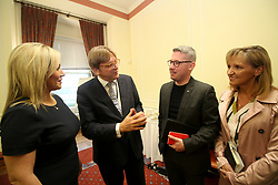 © Licensed to London News Pictures. 20/09/2017. Belfast, UK. L TO R leader of Sinn Fein Michelle O'Neill MLA, Guy Verhofstadt, Senator Niall O Donnghaileat and Martina Anderson MEP at Stormont Parliament Buildings in Belfast, Northern Ireland. Photo credit: London News Pictures.