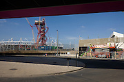 Landscape of 2012 Olympic construction site showing the main stadium, the Orbit art tower and the Aquatic centre at Stratford.