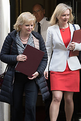 Downing Street, London, April 12th 2016. Small Business Minister Anna Soubry, left, leaves the weekly cabinet meeting with Environment Food and Rural Affairs Secretary Elizabeth Truss. <br /> ©Paul Davey<br /> FOR LICENCING CONTACT: Paul Davey +44 (0) 7966 016 296 paul@pauldaveycreative.co.uk