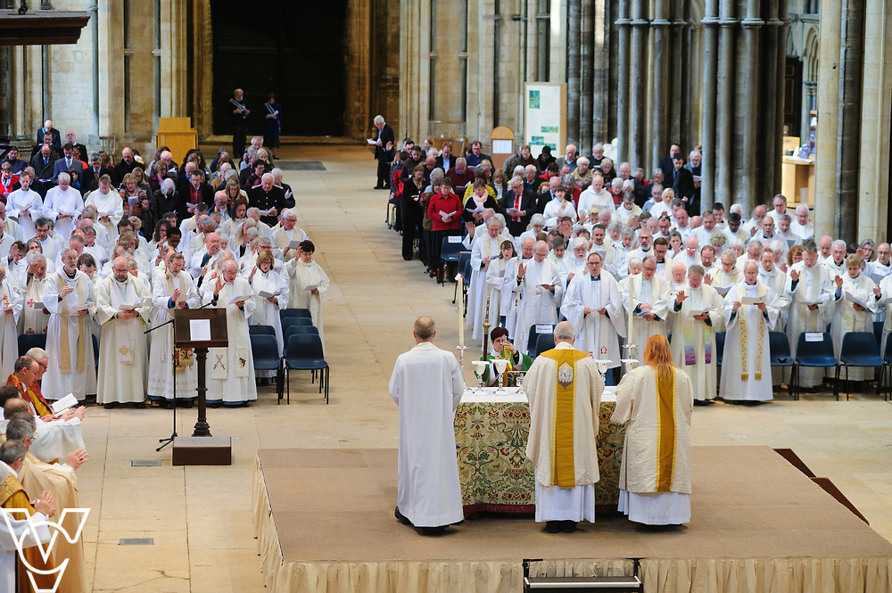 Diocese of Lincoln Chrism Eucharist at Lincoln Cathedral.<br /> <br /> Sung Eucharist with the renewal of vows and blessing of the oils held at Lincoln Cathedral.<br /> <br /> Picture: Chris Vaughan Photography for Diocese of Lincoln<br /> Date: April 16, 2019