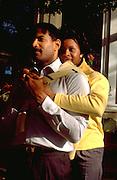 Romantic African American couple age 32 enjoying the Como Park Conservatory.  St Paul Minnesota USA