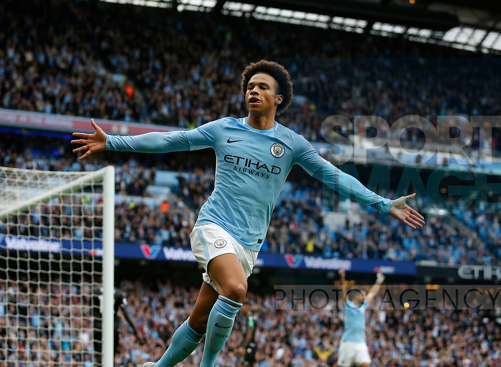 Leroy Sane of Manchester City celebrates during the premier league match at the Etihad Stadium, Manchester. Picture date 22nd September 2017. Picture credit should read: Simon Bellis/Sportimage