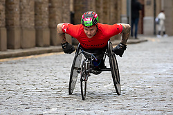 © Licensed to London News Pictures. 10/03/2019. London, UK.  Britain's David Weir in action during the wheelchair race as he passes through Wapping on cobbled streets at the six mile point during The Big Half Marathon 2019.  Photo credit: Vickie Flores/LNP