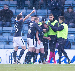 Dundee's Gary Irvine (2) cele scoring their second.<br /> Dundee 4 v 1 Motherwell, SPFL Premiership played 10/1/2015 at Dundee's home ground Dens Park.