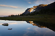 Reflection on pond near Hidden Lake,Glacier National Park.