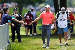 June 22, 2018 - Cromwell, Connecticut, United States - Jordan Spieth interacts with fans after putting the 8th green during the second round of the Travelers Championship at TPC River Highlands. (Credit Image: © Debby Wong via ZUMA Wire)