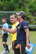 Waikato Manager Troy Lochhead and Assistant Coach Kevin O'Leary. NZFC Championship Soccer - Waikato v Canterbury, Centennial Park, Ngaruawahia. Sunday, 24 January 2010. Photo: Geoffrey Dickinson/PHOTOSPORT