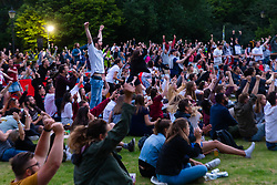 Football fans gather at Battersea Park as England's Lionesses take on the USA in Lyon, France, in the semi-final of the Women's World Cup. London, July 03 2019.