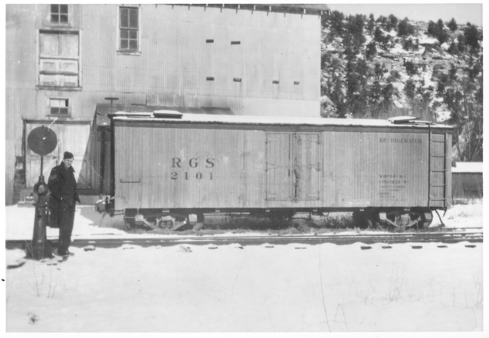 "RGS reefer #2101 waiting to be loaded at Dolores.<br /> RGS  Dolores, CO  Taken by Downs, Edward A. - ? 8/27/1948<br /> In book ""Rio Grande Southern II, The: An Ultimate Pictorial Study"" page 314<br /> Also in ""RGS Story Vol. XII"", p. 388 where the date is given as 1945."