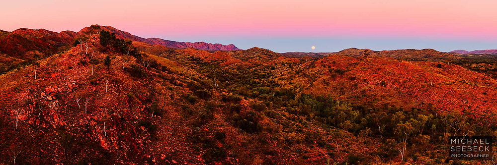 Moonrise at dusk at a remote location in the Western MacDonnell Ranges, in the Red Centre of the Northern Territory.<br /> <br /> Code: HATS0021<br /> <br /> Limited Edition of 125 Prints