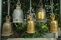 """Temple Bells at Wat Saket - Wat Saket a Bangkok temple dating back to the Ayutthaya era, when it was called Wat Sakae. It is usually referred to as just Wat Saket and is positioned on Golden Mountain. and therefore often called """"Temple of the Golden Mount"""".  It has become one of the icons of Bangkok."""