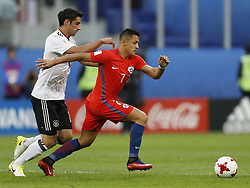 July 3, 2017 - Saint Petersburg, Russia - Alexis Sanchez (R) of Chile national team and Lars Stindl of Germany national team during FIFA Confederations Cup Russia 2017 final match between Chile and Germany at Saint Petersburg Stadium on July 2, 2017 in Saint Petersburg, Russia. (Credit Image: © Mike Kireev/NurPhoto via ZUMA Press)