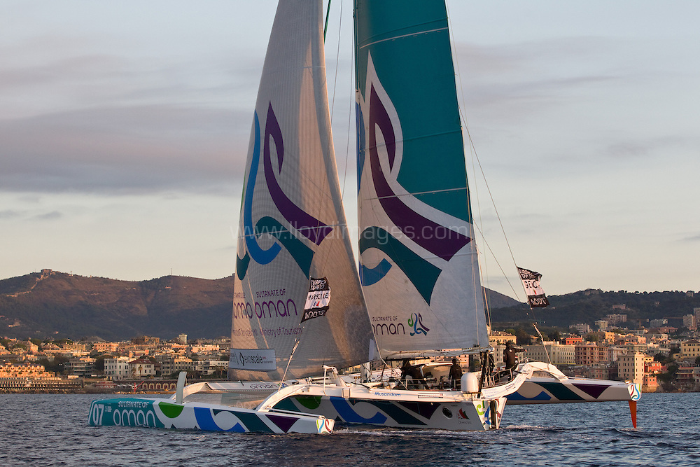 2nd October, 2012. MOD70 European Tour, Musandam-Oman Sail, skippered by Sidney Gavignet (FRA). Cross the line this morning and celebrate finishing 4th.Credit: Lloyd Images.2nd October, 2012. The finish of the MOD70 European Tour 2012. Genoa. Italy.Credit: Lloyd Images.