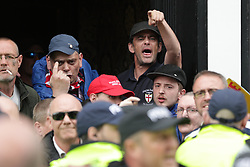 © Licensed to London News Pictures . 03/06/2017 . Liverpool , UK . EDL supporters. Far-right street protest movement , the English Defence League ( EDL ) , hold a demonstration in Liverpool , opposed by anti-fascists , including Unite Against Fascism ( UAF ) . Photo credit: Joel Goodman/LNP
