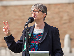 """© Licensed to London News Pictures. 20/02/2019. Bristol, UK. File picture dated 08/09/2018 of MOLLY SCOTT CATO, Green MEP for South West England who is one of 3 Green Party MEPs arrested today in Brussels among a group which also includes Belgian peace activists who scaled the wall of an airbase that stockpiles US weapons and blocked the runway which houses F16 bombers in a protest. Molly Scott Cato posted on her Twitter account: """"I have been arrested for breaking into a Belgian military airbase to protest against the stockpiling of American nuclear bombs."""" Photo credit: Simon Chapman/LNP"""