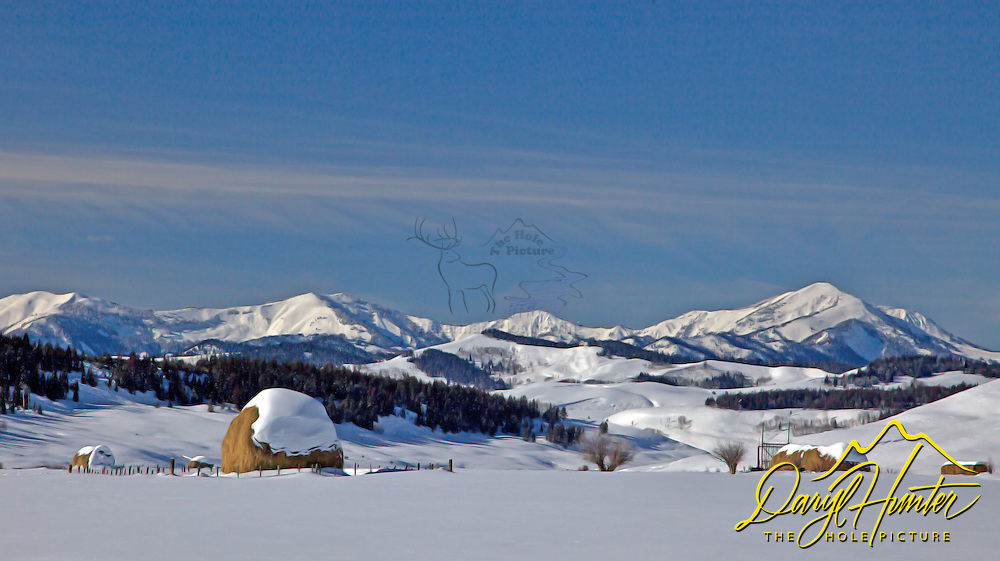 Winter at a high mountain ranch in  the Gros Venture Mountains of Bondurant Wyoming.