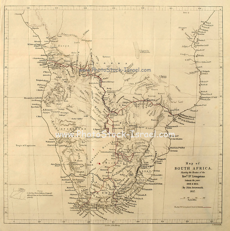 Map of South Africa showing Dr. Livingstone's Route From book ' Missionary travels and researches in South Africa : including a sketch of sixteen years' residence in the interior of Africa, and a journey from the Cape of Good Hope to Loanda, on the west coast, thence across the continent, down the river Zambesi, to the eastern ocean ' by David Livingstone Published in London in 1857