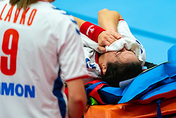 Andrea Lekic of Serbia injured during the Women's EHF Euro 2020 match between Netherlands and Serbia at Sydbank Arena on december 05, 2020 in Kolding, Denmark (Photo by RHF Agency/Ronald Hoogendoorn)
