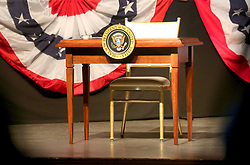 June 16, 2017 - Miami, FL, USA - The stage is set for President Donald Trump at the Manuel Artime Theater in Miami Friday June 16, 2017. The president is expected to unveil the changes he's making to the Obama-era policies toward Cuba. (Credit Image: © Mike Stocker/TNS via ZUMA Wire)