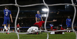 BRITAIN-LONDON-FOOTBALL-FA CUP-CHELSEA VS MAN UNITED.(190218) -- LONDON, Feb. 18, 2019  Manchester United's Paul Pogba (2nd R) and Manchester United's Romelu Lukaku (4th R) celebrate after scoring during the FA Cup fifth round match between Chelsea and Manchester United in London, Britain on Feb. 18, 2019. Manchester United won 2-0. FOR EDITORIAL USE ONLY. NOT FOR SALE FOR MARKETING OR ADVERTISING CAMPAIGNS. NO USE WITH UNAUTHORIZED AUDIO, VIDEO, DATA, FIXTURE LISTS, CLUB/LEAGUE LOGOS OR ''LIVE'' SERVICES. ONLINE IN-MATCH USE LIMITED TO 45 IMAGES, NO VIDEO EMULATION. NO USE IN BETTING, GAMES OR SINGLE CLUB/LEAGUE/PLAYER PUBLICATIONS. (Credit Image: © Xinhua via ZUMA Wire)