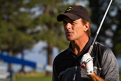 July 15, 2018 - Stateline, Nevada, U.S - Former NFL Pro Bowl quarterback, DOUG FLUTIE, warms up at the driving range before teeing off at the 29th annual American Century Championship at the Edgewood Tahoe Golf Course in Stateline, Nevada, on Sunday, July 15, 2018. (Credit Image: © Tracy Barbutes via ZUMA Wire)