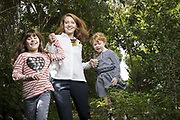 Journalist Megan Lehmann and daughters Ruby and Josephine at home in Sydney for a mothers day article.