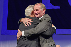 Athletics Director Thomas A. Beckett and David Swensen '76. Yale Athletics Blue Leadership Ball & George H.W. Bush '48 Lifetime of Leadership Awards. 20 November 2015 at the William K. Lanman Center, Payne Whitney Gymnasium, Yale University.