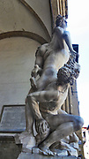 The Rape of the Sabine Women by Giambologna, in the Loggia dei Lanzi in Florence by Giambologna (1579–1583) This sculpture is considered Giambologna's masterpiece. The Rape of the Sabine Women is an episode in the legendary history of Rome, traditionally said to have taken place in 750 BC, in which the first generation of Roman men acquired wives for themselves from the neighbouring Sabine families.