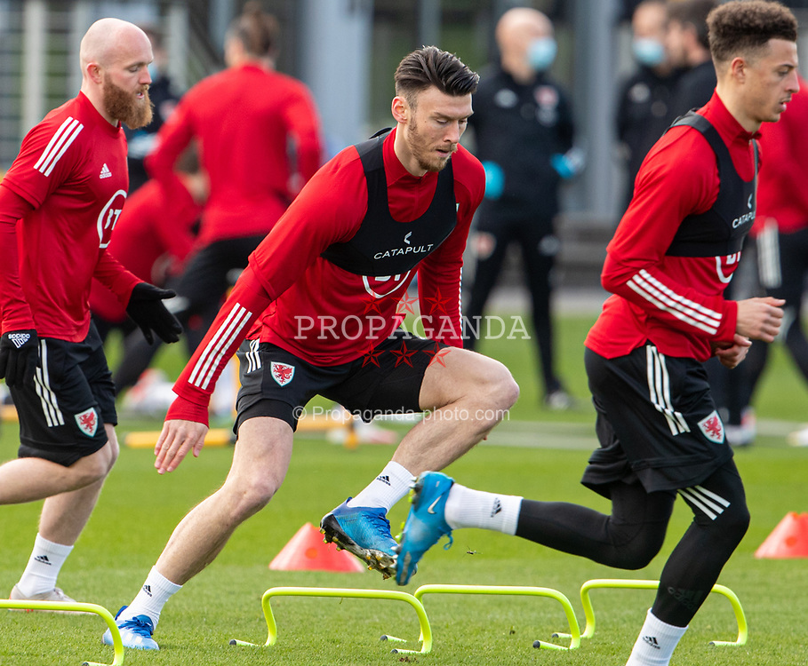 CARDIFF, WALES - Tuesday, March 23, 2021: Wales' Kieffer Moore during a training session at the Vale Resort ahead of the FIFA World Cup Qatar 2022 Qualifying game against Belgium. (Pic by David Rawcliffe/Propaganda)