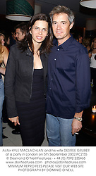 Actor KYLE MACLACHLAN and his wife DESIREE GRUBER at a party in London on 5th September 2002.PCZ 55