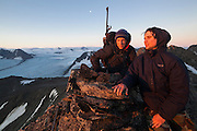 Jaroslaw Halat (left) and Marcin Tukalski, students from the University of Silesia, on the summit of Angellfellet near the Polish research station of Baranowka, Svalbard. Werenskioldbreen is visible in the background.