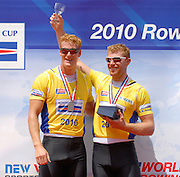 Lucerne, Switzerland. GBR M2X. Bow Matt WELLS and Marcus BATEMAN. gold medalist Men's double Scull. 2010 FISA World Cup. Lake Rotsee, Lucerne.  13:28:45   Sunday  11/07/2010.  [Mandatory Credit Peter Spurrier/ Intersport Images]