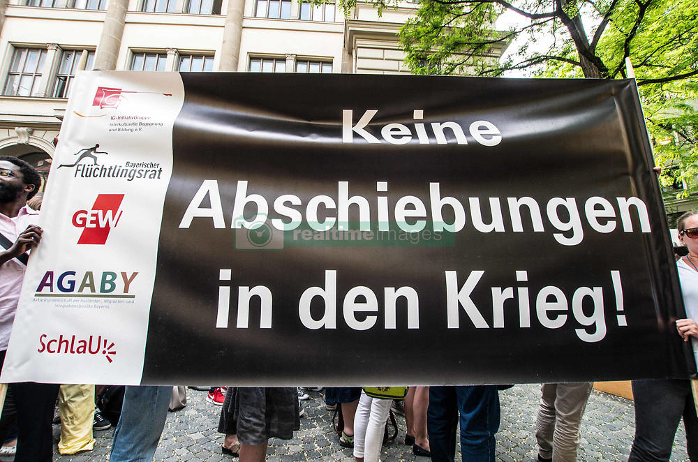 June 1, 2017 - MüNchen, Bayern, Germany - ''No Deportations into War'' Over 750 from various political parties and organizations, including the SPD, the Green Party, Claudia Stamm's Zeit zu Handeln, Bellevue di Monaco,  and the Bayerischer Fluechtlingsrat organized a demonstration at Munich's Salvatorstrasse in solidarity with the students at a Nuremburg school who were surprised by a shocking arrest of a classmate set for an immediate surprise deportation to Afghanistan.  Hundreds of students then organized resistance and a blockade to try and prevent the police from taking their classmate away, which resulted in brutal violence being used against the students.  The case has sparked much criticism against the police, who not only violated the safe zone of a school to make an arrest, but also has displayed the level of violence the Bavarian police use freely and without consequence. (Credit Image: © Sachelle Babbar via ZUMA Wire)