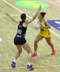 Australian Diamonds' Kelsey Brown (right) and New Zealand Silver Ferns' Karin Burger battle for the ball during the Vitality Netball International Series match at The Copper Box, London.