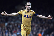 Harry Kane of Tottenham Hotspur celebrates after completing his hat- trick after scoring Tottenham's third goal. The Emirates FA Cup, 5th round match, Fulham v Tottenham Hotspur at Craven Cottage in London on Sunday 19th February 2017.<br /> pic by Steffan Bowen, Andrew Orchard sports photography.