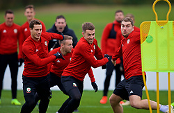 CARDIFF, WALES - Monday, November 19, 2018: Wales' L-R James Lawrence, Aaron Ramsey an Sam Vokes during a training session at the Vale Resort ahead of the International Friendly match between Albania and Wales. (Pic by David Rawcliffe/Propaganda)